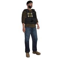 3d model rigged dea agent 4