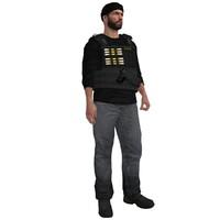 3d model rigged dea agent 2