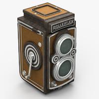 3d model old rolleiflex camera