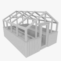 3d wood greenhouse model