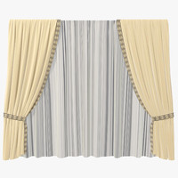 curtains yellow 003 3d model