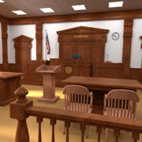 court room courtroom 3d model
