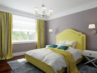 3d model bedroom interior bed