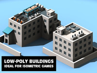 max low-poly factory office buildings