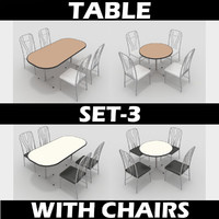 3ds max table chairs set-3