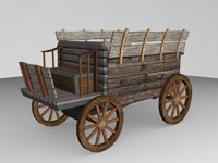 3ds max medieval low-poly carriage