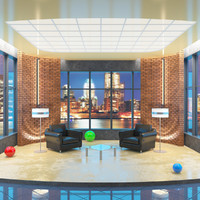 evening tv talk studio 3d model