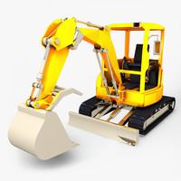 mini excavator 3d obj