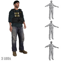 3ds max rigged dea agent lod