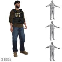 rigged dea agent lod 3d max