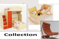 furniture baby bed 3d model