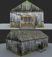 3d barn wooden model