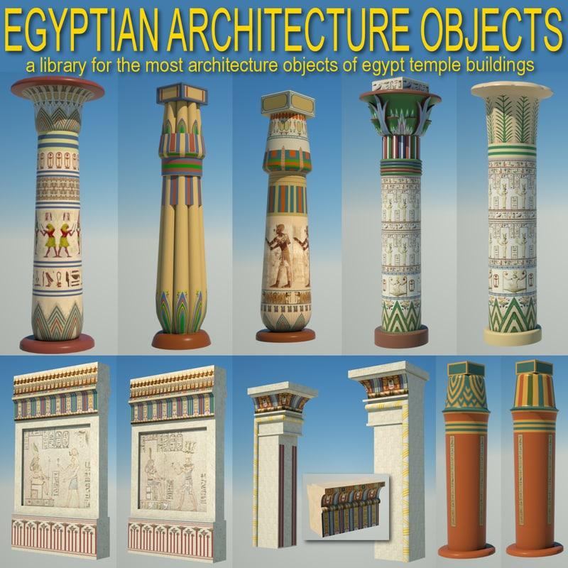 Egyptian architecture objects columns obj for Architecture 3d vue 3d