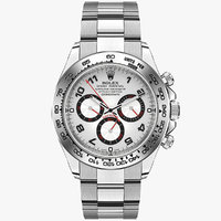rolex daytona white gold silver 3d model