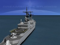 kidd class destroyer 3d model