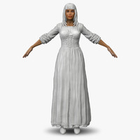 3d zbrush women medieval peasant model