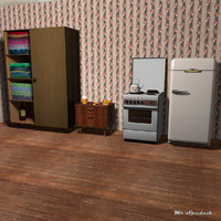 3d furniture stove refrigerator