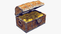 3d max old wooden treasure chest