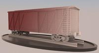 railroad cargo boxcar obj