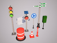 3d model of street objects