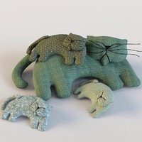 3d model family sleeping cats