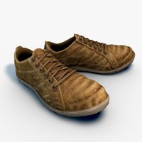 3d model old worn sneakers