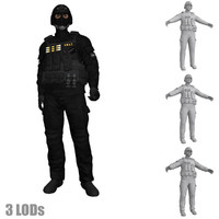 3ds max rigged swat soldier s