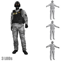 3d model rigged swat soldier s