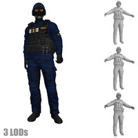 3d rigged swat soldier 3 model