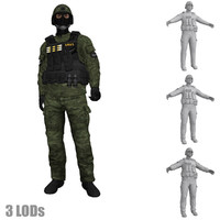 rigged swat soldier s 3d x