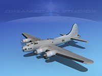 3d b-17 hp boeing bomber model