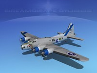 3d b-17 hp boeing flying fortress