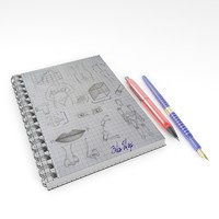 notebook pen obj