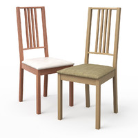 borje light wood dining chair 3d model