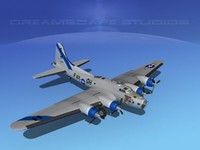 b-17 hp boeing flying fortress 3d max