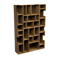 3d bookcase wood