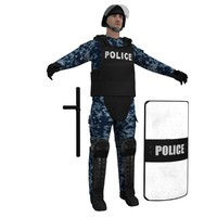 3d model of riot police officer 2
