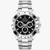 rolex daytona steel black 3d model