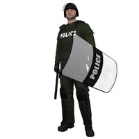 3ds max rigged riot police officer