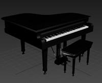 3d model black grand piano