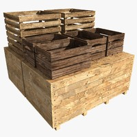 stacked crates 3d model