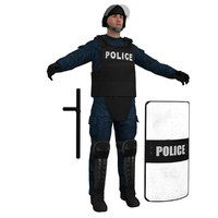 3d obj riot police officer