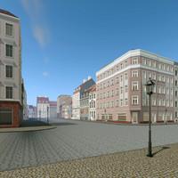 city scene residence 3d c4d