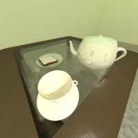 3d model of teacup saucer kettle cheese