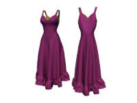 free purple dress 3d model