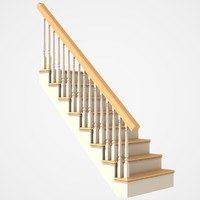 stairs wood wooden 3d model