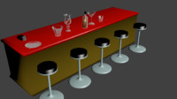 group items bar pub 3d model