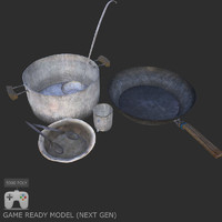 3d post apocalyptic dishes model