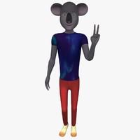 cinema4d cartoon character hipster koala