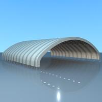 3dsmax building hangar drone